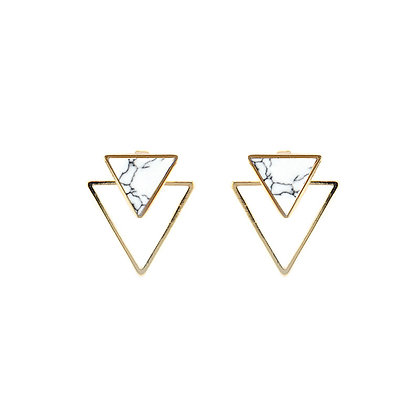 Marble Front and Back Triangular Jacket Earrings