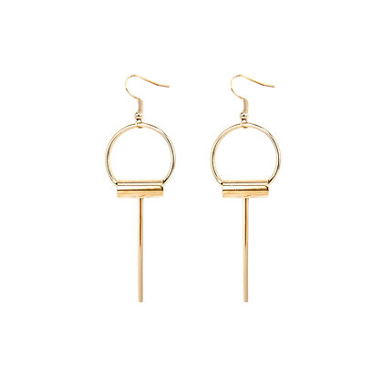 Elegant Circle Pin Drop Earrings