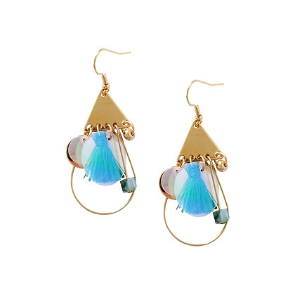 Delicate Gold-tone Drop Earrings with Ornaments