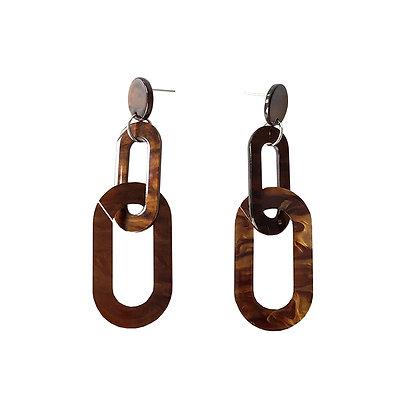 Long Drop Resin Tortoiseshell Earrings
