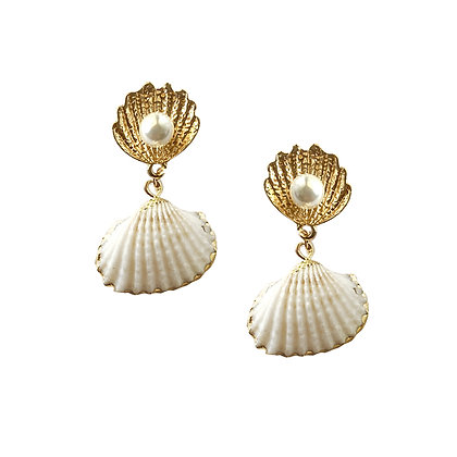 Sea Shell with Pearl Drop Earrings