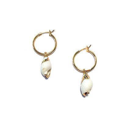 Coralia Shell Huggie Earrings
