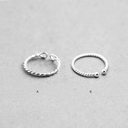 Sterling Silver Threaded Ring