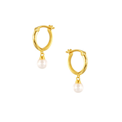 S925 Mini Pearl Hoop  Earrings