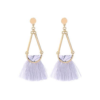 Drop Triangle Earrings with Tassels