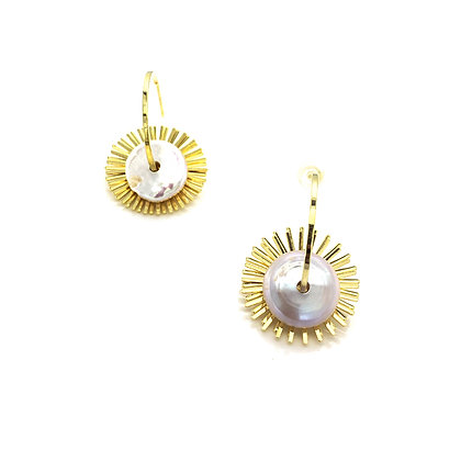 Gold Plated- Double Wheel Peal Earrings- S925 Post