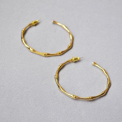 S925 Post -18k Gold Filled Bamboo Hoop Earrings