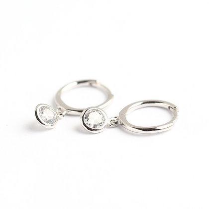 S925 CZ Drop Hoop Earrings