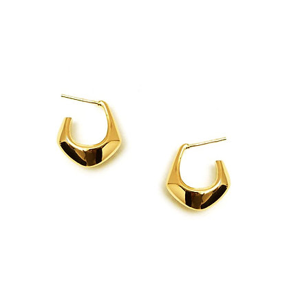 18k Gold Plated- Polygon Open Hoop