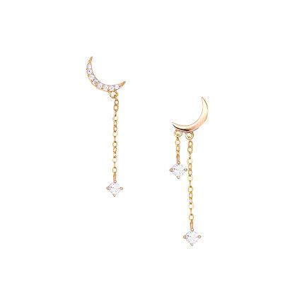 S925 CZ Moon Chains Drop Earrings