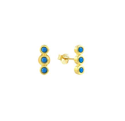 S925 Mini Triple Turquoise CZ Stud Earrings
