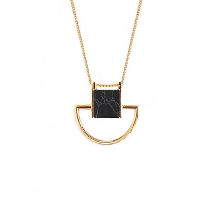 Crescent Cube Black Marble Necklace