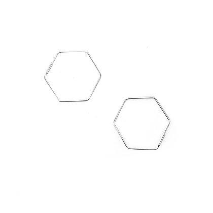 S925 Hexagon Hoops