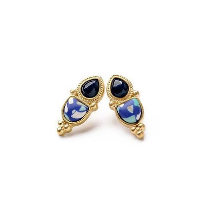 Blue and Black Vintage Statement Earrings