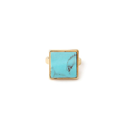 Square Turquoise Marble Ring