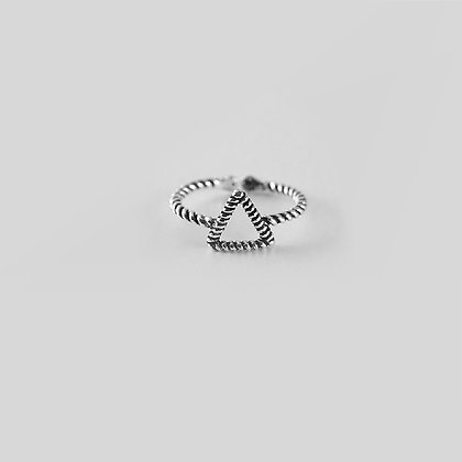 Sterling Silver Triangular Chain Ring