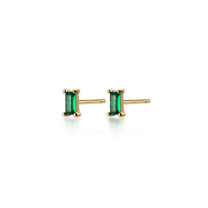 S925 Mini Faux Emerald Stud Earrings