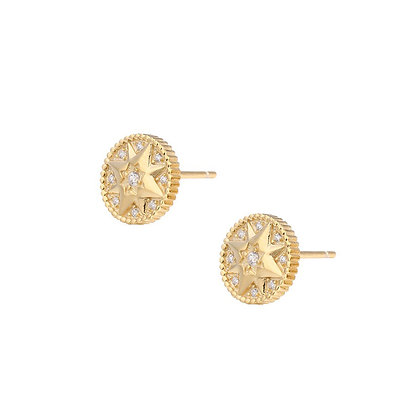 S925 Star Coin Stud Earrings