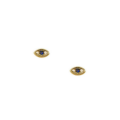 S925 5mm Mini Small CZ Blue Eye Earrings