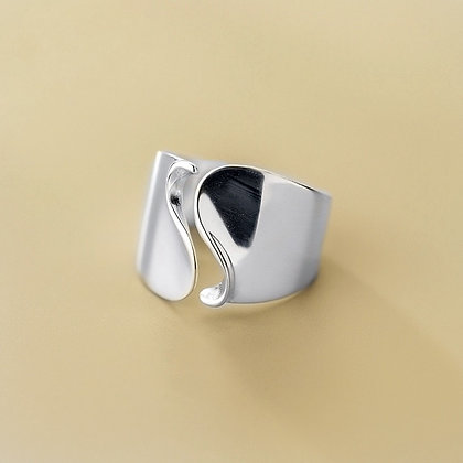 S925 Curved Adjustable Ring