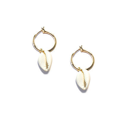 Cowrie Shell Huggie Earrings