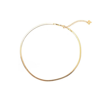 Stainless Steel Gold Flat Omega Ribbed Choker