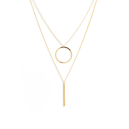 Elegant Multilayered Open Circle & Vertical Bar Necklace