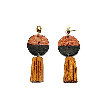 Two tone Wooden Circle Drop Earrings with Tassels