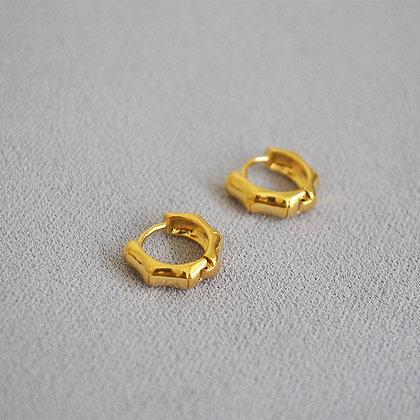 18k Gold Filled Bamboo Small Hoop Earrings