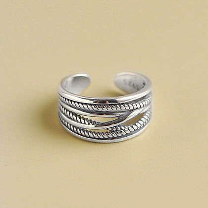 Sterling Silver Wrapped Bead Ring