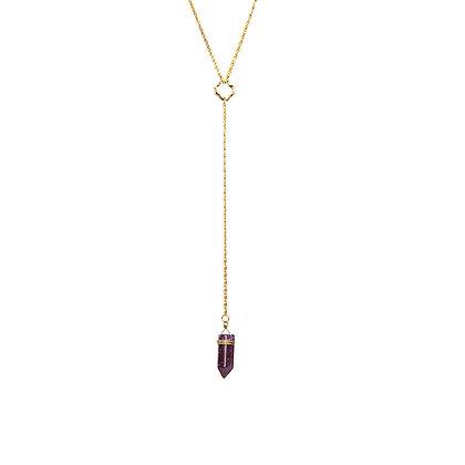 Long Drop Amethyst Necklace