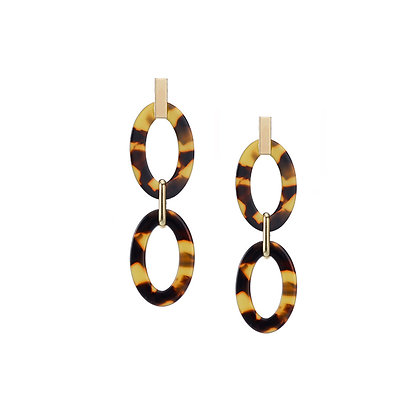 Tortoiseshell Drop Earrings with Open Link