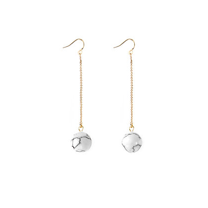 Marble Ball Hook Earrings