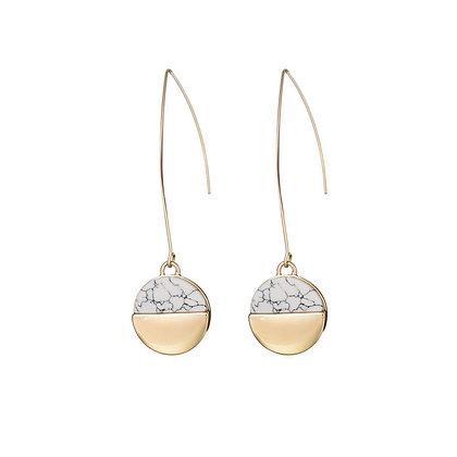 Two Tone Marble Drop Earrings