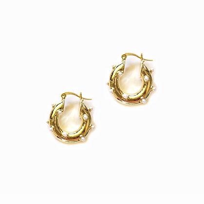 18k Gold Plated- Mini Peal Huggie Hoop Earrings