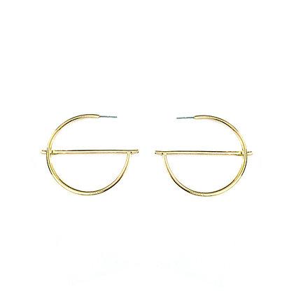 Simplistic Open Circle Bar Earrings