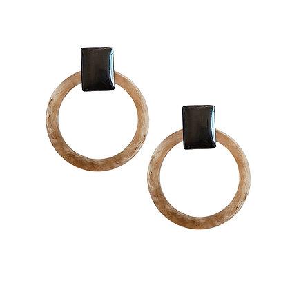 Circle Resin Stud Statement Earrings