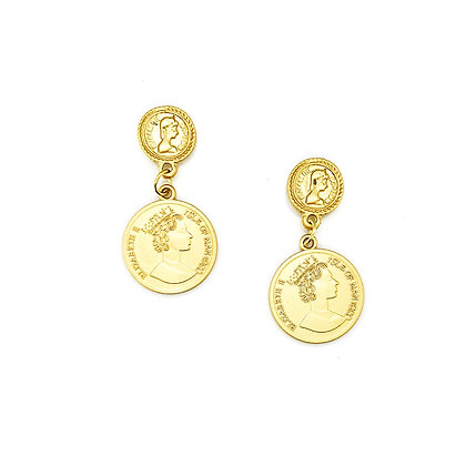 Double Coin Earrings- S925 Post
