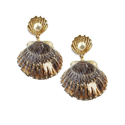 Large Seashell Drop Earrings