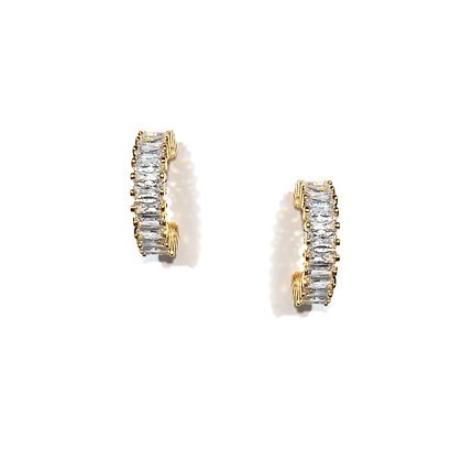 Sparkle Gold Hoop Earrings -S925 Post
