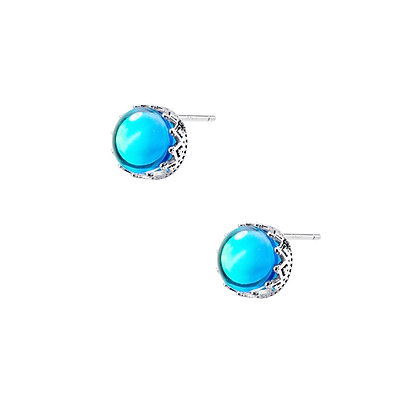 S925 Blue Marble Studs