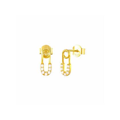 S925 Mini CZ Safety Pin  Earrings