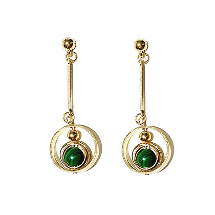 Hollow Circle with Green Sphere Earrings