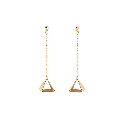 Pyramid Chain Drop Earrings