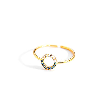 S925 Open Circle Blue Diamond Adjustable Ring