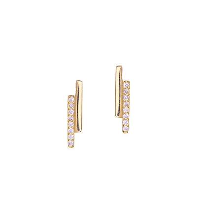 S925 CZ  Double Bar Earrings