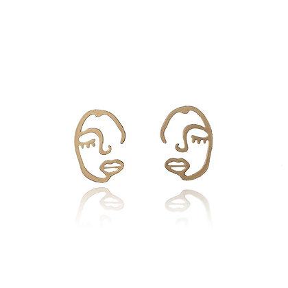 Face stud Earrings- S925 Post