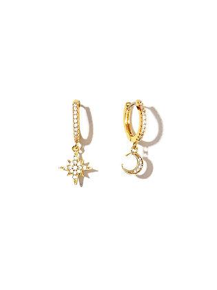 S925 CZ Star &Moon Earrings