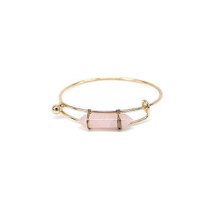 Expandable Bangle Bracelet with Pink Stone