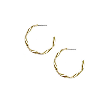 Brushed Matte Wave Hoop Earrings